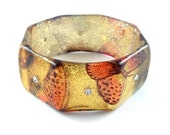Cuff Bracelet Vintage Butterfly Glitter Jewelry Amber Gold Orange Rhinestone Octagon Sparkle Bangle, Free Domestic Shipping