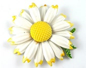 RESERVED//Vintage Flower Brooch White Daisy with Yellow Tipped Petals and Green Leaves ((Free Shipping USA))