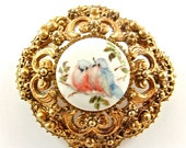 Romantic Brooch Vintage Jewelry Ornate Bluebird Hand Painted Porcelain Spring Fashion Pin ((Free Shipping USA))