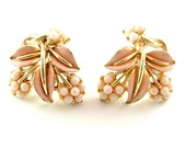 CORO Earrings Designer Vintage Pink Peach Leaves Berries Botanical Clip On Earrings (Free Shipping USA)