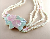Inlay Pastel Shell Necklace Vintage Jewelry Mother of Pearl Multi Strand Tropical Necklace