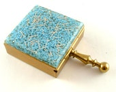 Vintage Travel Accessories Sky Blue Glitter Tray Compartment Organizer Pill Box Ash Tray Collectibles  (Free Shipping USA)