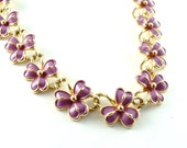 RESERVED Coro Designer Vintage Floral Necklace Lavender Purple Flower Link Enamel Jewelry Necklace (Free Shipping USA)