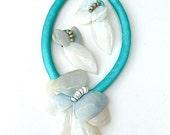 Designer Vintage Statement Shell Necklace Earring Handmade Turquoise Jewelry Set Beach Resort Seaside Ocean Shells