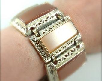 Runway Bracelet Vintage Jewelry Thermoset Link Cuff Geometric Jewelry, FREE Domestic Shipping