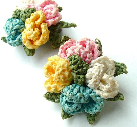 Handmade Earrings Vintage Jewelry Crocheted Flower Bouquet Textile Clip Earrings, FREE Domestic Shipping