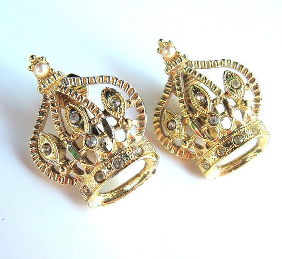 RESERVED Vintage Earrings Fit for a Queen Crowns Gold Tone with Rhinestone Earrings ((Free Shipping USA))