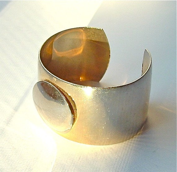 RESERVED Metallic Gold Bracelet Vintage Mod Accessories Jewelry Sleek Silver Gold Tone Cuff, Free Domestic Shipping