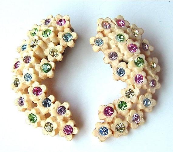 Vintage Celluloid Earrings Rhinestone Jewelry Cream Flower Pink Lime Lemon Sky Blue Lavender Bouquet Clip On Earrings ((Free Shipping USA))