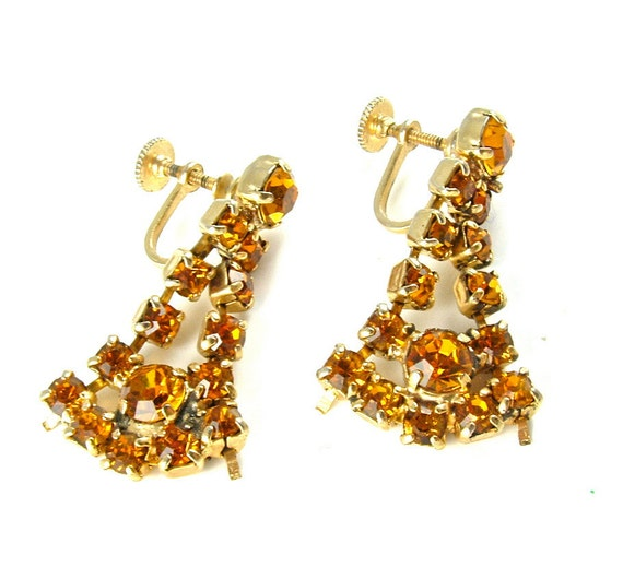 Rhinestone Earrings Citrine Honey Vintage Wedding Jewelry Earrings ((Free Shipping USA))