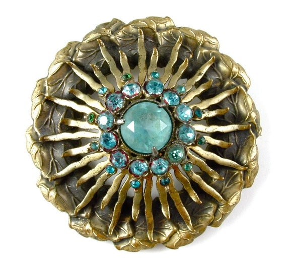 Mandala Brooch Vintage Jewelry Ornate Sunburst Aqua Blue Rhinestones Old World Pin ((Free Shipping USA))