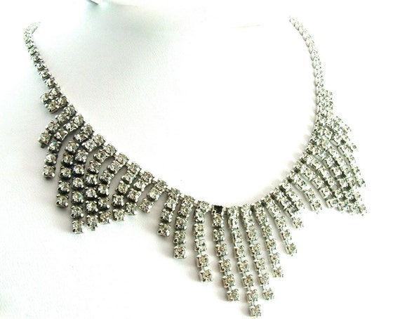 Vintage Rhinestone Necklace Fringed Rhinestone Necklace Repair ((Free Shipping USA))