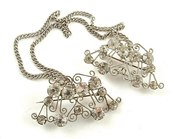 SALE Unusual Ornate Swirling Metalwork Vintage Rhinestone Chatelaine Pins Sweater Guard Clip ((Free Shipping USA))