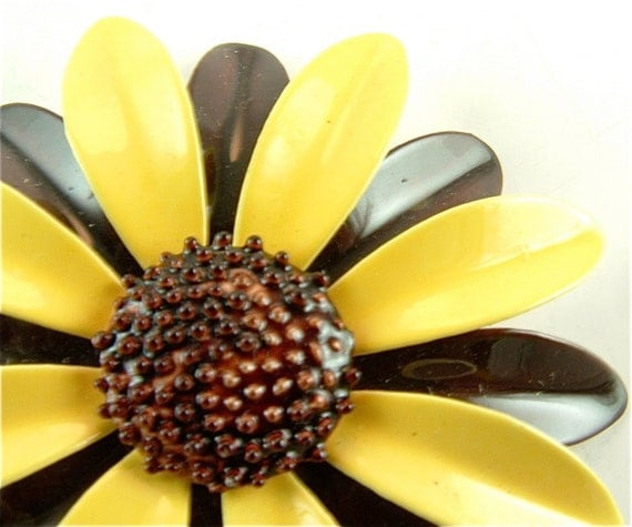 SALE Enamel Flower Brooch Vintage Jewelry Yellow Deep Walnut Brown Brooch Bouquet Pin ((Free Shipping USA))