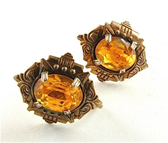 Sterling Art Deco Earrings Vintage Rhinestone Jewelry Honey Amber Citrine (Free Shipping USA)