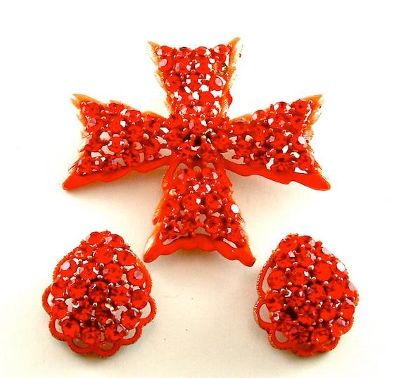 WEISS Brooch Earrings Designer Vintage Rhinestone Jewelry Set Bright Neon Orange Enamel Cross Clip On Earrings ((Free Shipping USA))