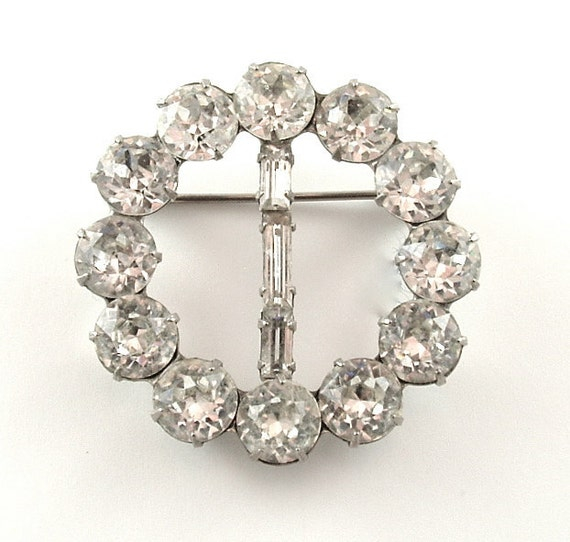 WEISS Dazzling Vintage Circle Brooch Signed Designer BridalJewelry, FREE US Shipping