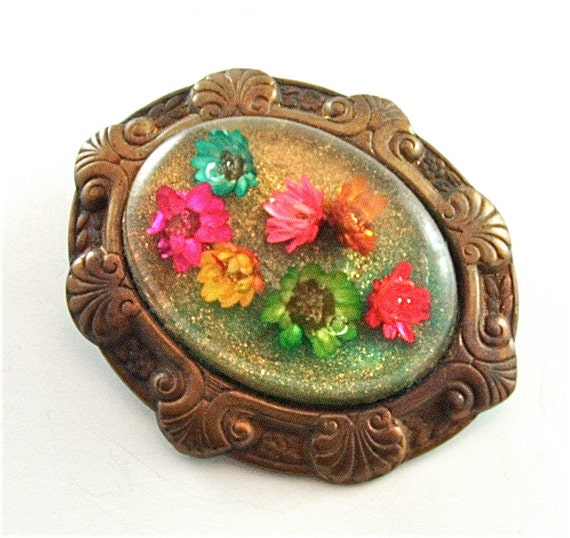 Floral Victorian Brooch Romantic Vintage Jewelry Old World Colorful Flower Glitter (Free Shipping USA)