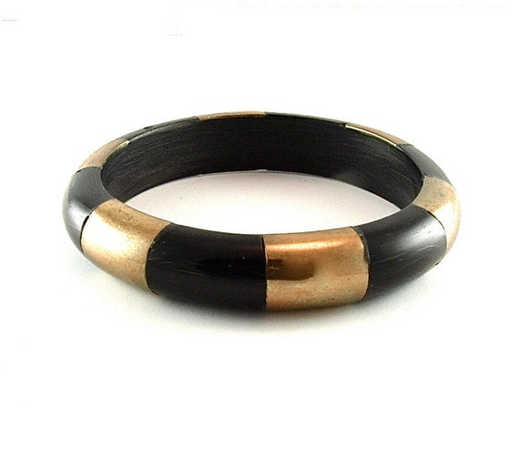 Exotic Vintage Brass Inlay Tribal Bangle Bracelet Ethnic Jewelry Black Horn, Free Domestic Shipping)