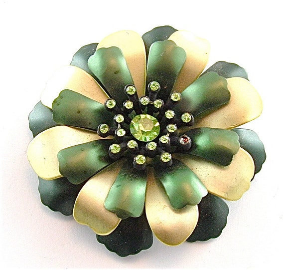 Metallic Flower Brooch Vintage Rhinestone Jewelry Forest Green Brushed Gold Brooch Bouquet Pn (Free Shipping USA)