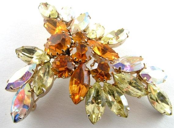 Rhinestone Brooch, Vintage Bridal Jewelry Large Pastel Lemon Citrine Yellow Tangerine Orange Aurora Borealis Glamour