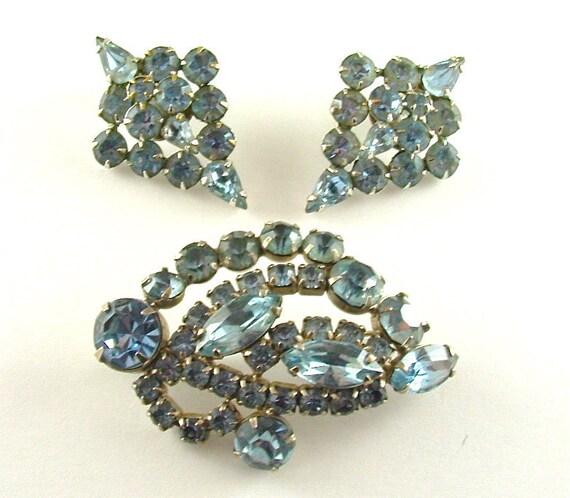 Rhinestone Brooch Earrings Vintage Jewelry Set Sky Blue Glamour Statement Jewelry Pin Clip Earrings (Free Shipping USA)