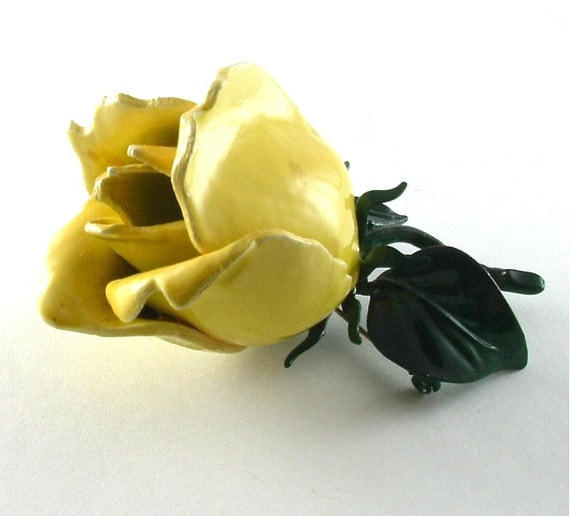 Vintage Rose Brooch Yellow Jewelry Large Romantic Floral Lemon Wedding Corsage Pin (Free Shipping USA)