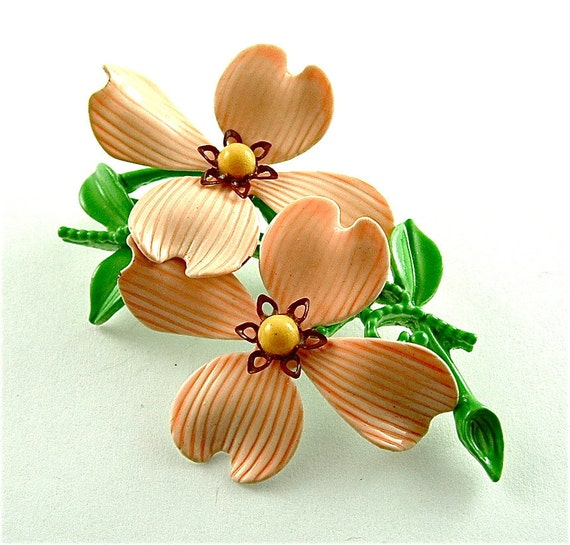 Vintage Dogwood Brooch Floral Jewelry Pastel Orange Spring Fashion Accessories Flower Pin, Free Domestic Shipping