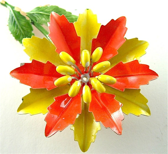 Vintage Flower Brooch Chrome Yellow Tangerine Orange Floral Spring Jewelry, Free USA Shipping