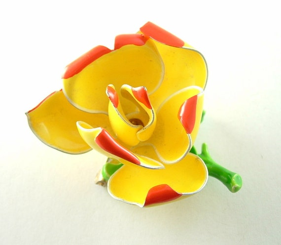 Vintage Flower Brooch Yellow Orange Nature Inspired Jewelry Pin