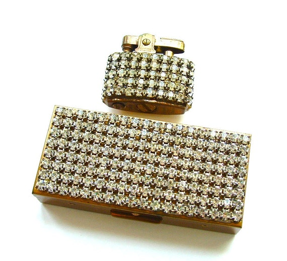 Vintage Designer Fashion Accessories Rhinestone Cigarette Case Lighter Trickettes by Weisner Hollywood Swank Lipstick Case Organizer