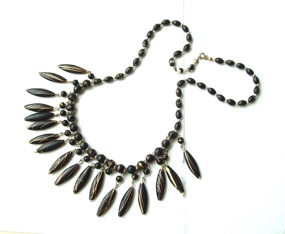 RESERVED for C Vintage Fringed Necklace Tribal Jewelry Black Gold Beaded Necklace Costume Jewelry, FREE Domestic Shipping