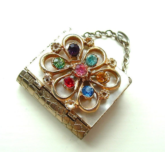 Vintage Pendant Rainbow Rhinestone Mother of Pearl Jewelry Mini Purse for Necklace, Free US Shipping