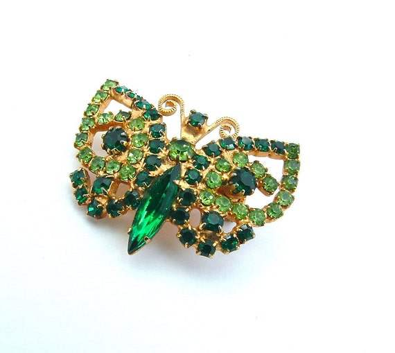 Rhinestone Butterfly Brooch Vintage Peridot Green Nature Inspired Jewelry Emerald Green