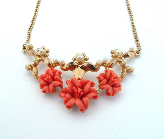 Vintage Necklace Coral Faux Pearl Flower Bridal Boho Nature Inspired Jewelry