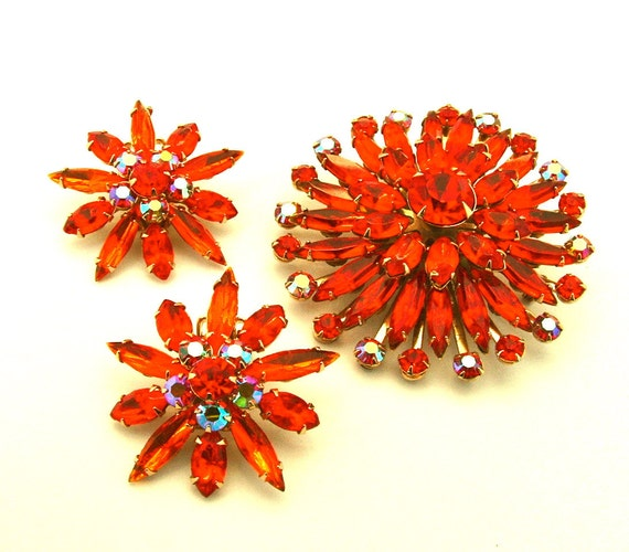 Vintage Jewelry Set Rhinestone Brooch Earrings Brilliant Tangerine Orange Aurora Borealis Sunburst, FREE Domestic Shipping
