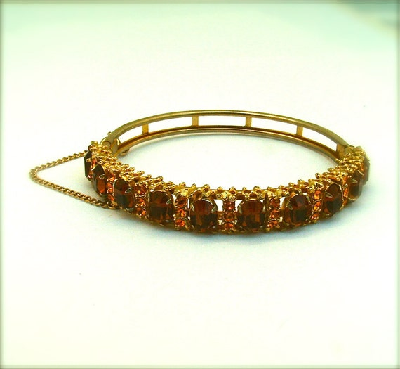 Vintage Jewelry Princess Bracelet Costume Jewelry Amber Sunset Rhinestone Bangle, Free US Shipping