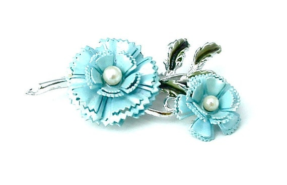 Vintage Skyfall Blue Flower Brooch Two Blossoms Spring Jewelry, Free US Shipping
