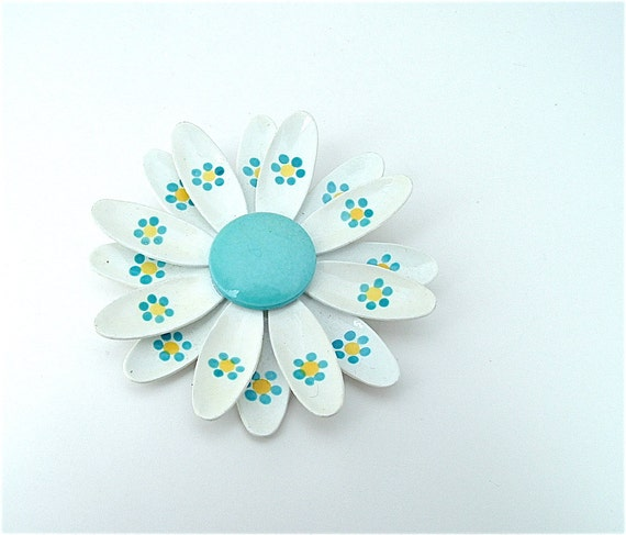 Light Blue Vintage Flower Brooch Hand Painted Jewelry Sky White West Germany Pin, FREE US SHIPPING