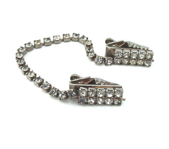 SALE Rhinestone Cardigan Clip Vintage 50s Jewelry Sweater Guard Accessories Bridal Jewelry