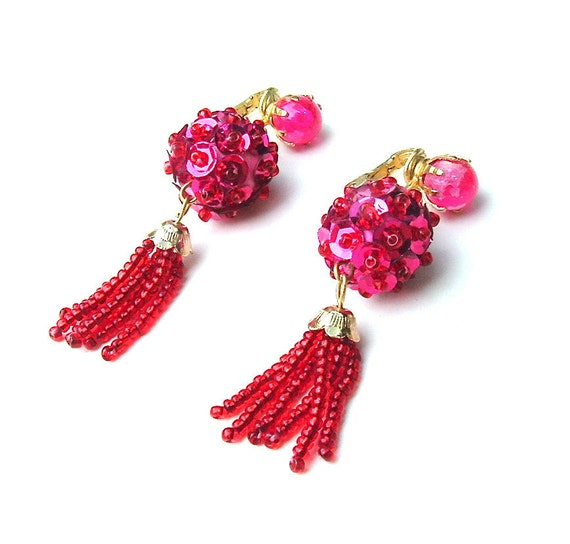 Beaded Sequin Vintage Fringe Dangle Earrings Costume Burlesque Jewelry Fuchsia Pink Red, Free US Shipping