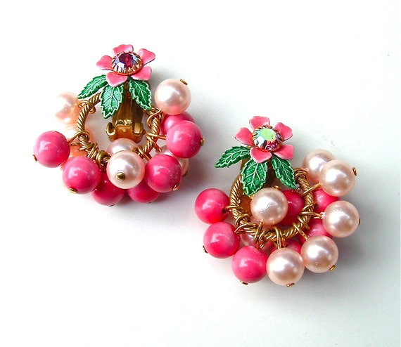 Beaded Earrings Satin Pink Candy Pink Flower Rhinestone Bauble Clip Earrings, Free US Shipping
