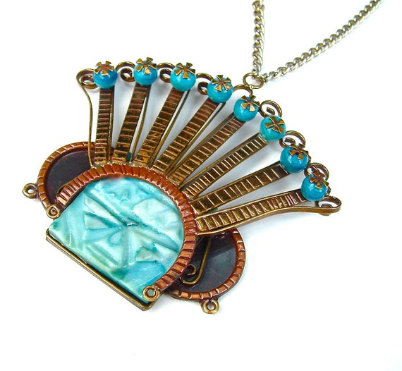 Vintage Tribal Statement Necklace Blue Glass Runway Aztec Mayan Beaded Large Bold