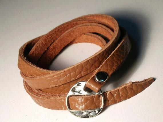 Multi Wrap Brown Leather Cuff Bracelet