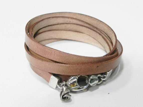 Multi Round Wrap Tan Leather with Big Sterling Silver Clasp Cuff Bracelet