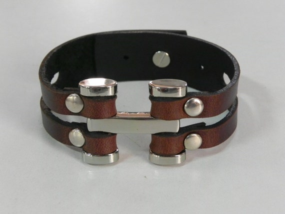 Leather Bracelet Leather Cuff Dark Brown Color with Silver Tone Metal
