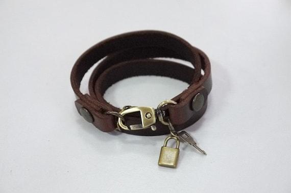 Leather Bracelet Leather Charm Bracelet Brown Color with Metal Key Charm