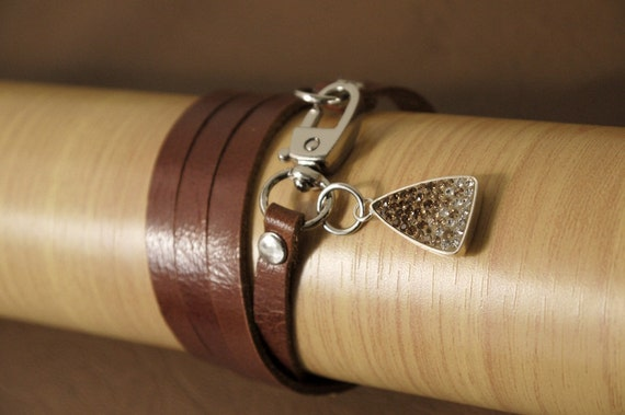Tan Leather Bracelet Leather Charm Bracelet with Crystals in Sterling Silver Frame Charm