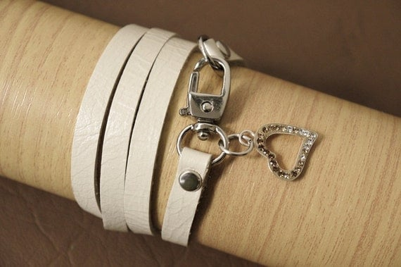 White Pearl Wrap Leather Bracelet Leather Charm Bracelet with Crystals in Sterling Silver Heart Frame Charm Pendant