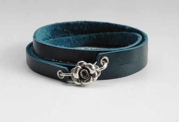 Blue Leather Wrap Bracelet with Sterling Silver Rose Clasp